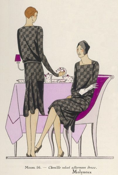 Tea for two - but both ladies are wearing identical afternoon dresses - evidently they both buy their clothes chez Molyneux