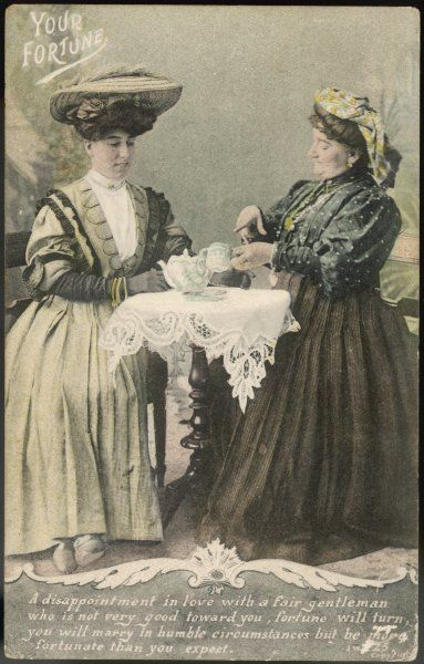 A lady consults a tea-leaf fortune-teller
