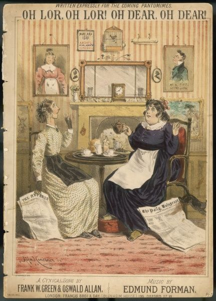 'Oh lor, oh lor ! oh dear, oh dear !' - two ladies at their tea table share their alarm at the frightful things they read in their newspapers