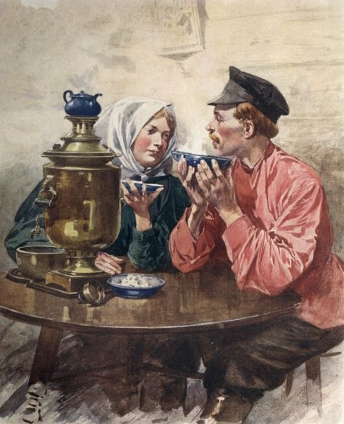 Russian couple drink tea from a samovar Date: 1913