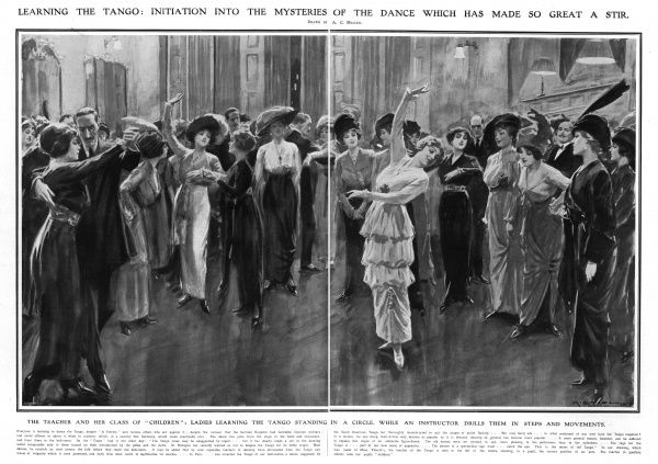 Ladies learning the tango standing in a circle, while teacher Mme Vicarni instructs and drills them in steps and movements. Here, the correct position of the arm is demonstrated. Date: 1913