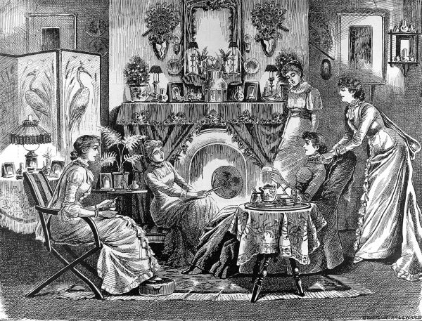 Cosy scene showing a group of women in a typical late Victorian sitting room or parlour. The picture shows them drinking tea and talking, while the background clearly gives a good impression of what a domestic interior looked like in 1883