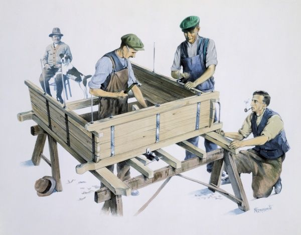 Three carpenters make a cart under the watchful gaze of an elder craftsman or the intended recipent of the cart. Watercolour Painting by Malcolm Greensmith