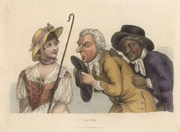 A weasel-faced gentleman accompanied by his black servant confesses his love toward a lovely young maiden, unable to control his emotions