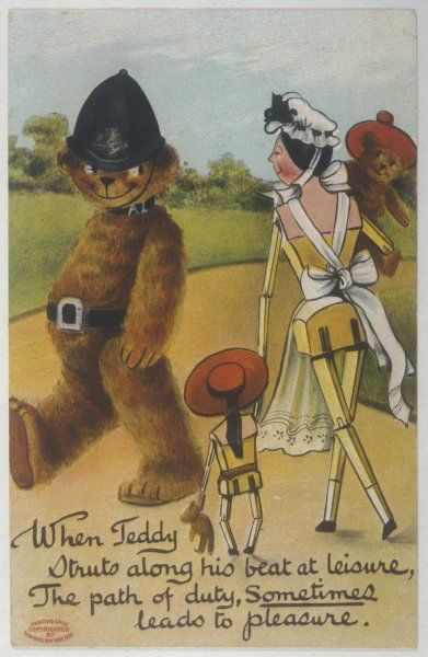 Teddy Bear policeman eyes nurse - who is carrying another teddy
