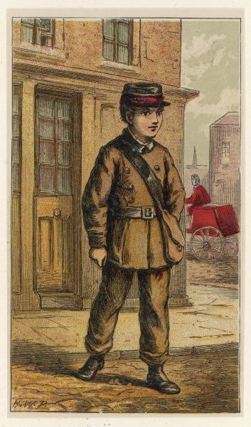 London characters: the TELEGRAPH BOY is the human link in the chain which can bring a message from New York or Bombay to Belgrave Square, delivering it by hand