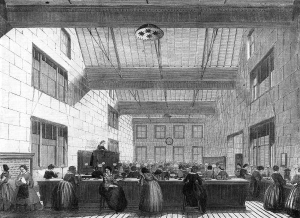 The offices of the Electric and International Telegraph Company, in Bell Alley, Moorgate Street, London Date: 1859