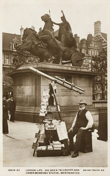 A wonderful photographic postcard depicting 'Big Ben's Telescope Man' under the Boadicea Statue, Westminster. The statue was sculpted by Lord Thomas Thorneycroft (1815 - 1865) - commisioned by Prince Albert in the 1860s, but only cast in 1902