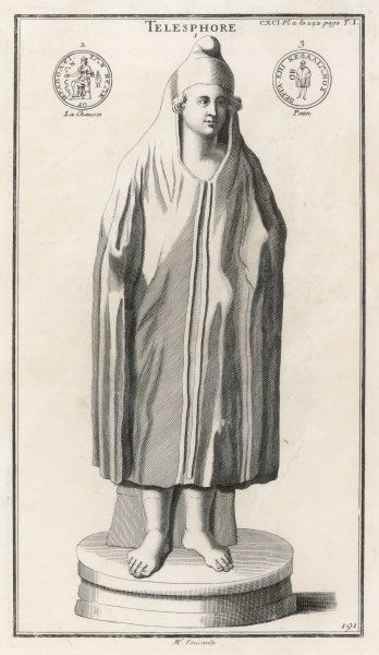 Roman healing deity, associated with Asclepius : personifying the hope of successful healing, he is represented as a boy in a hooded cloak