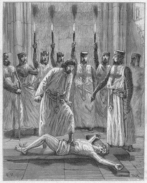 According to the historian Michelet, each Templar recruit was required to spit or trample on the Crucifix, as a symbol of his rejection of Jesus