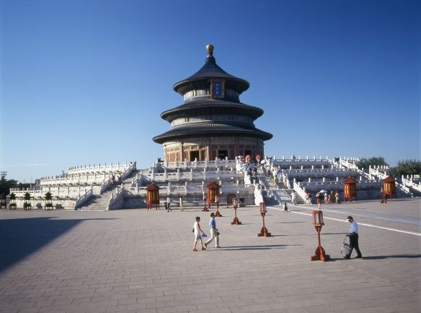 The Tiantan Temple (Temple of Heaven), Beijing, China's largest temple. Construction began in 1420, with extensive renovations during the 18th and 19th centuries