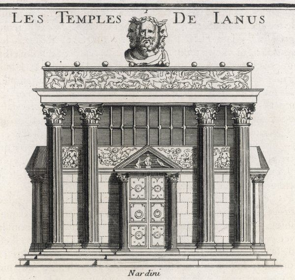 The Temple of Janus at Rome, with a bust of the deity looking in three different directions - past, present and future