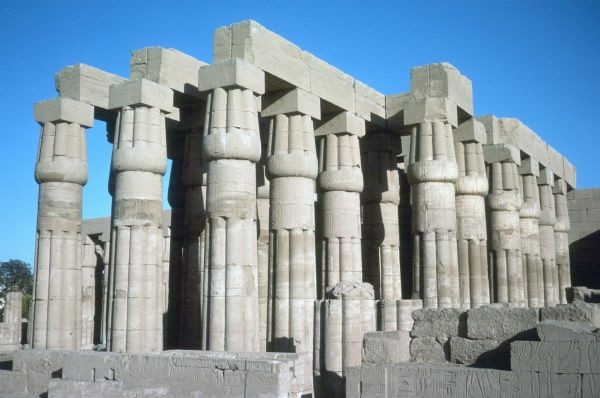 Pillars and columns at the Temple of Luxor with open papyriform capitals