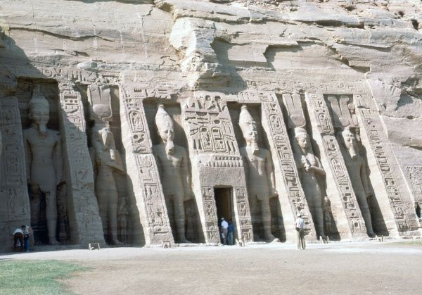 Abu Simbel, entrance, Temple of Nefertaril, Egypt. Photograph by Lionel Coates