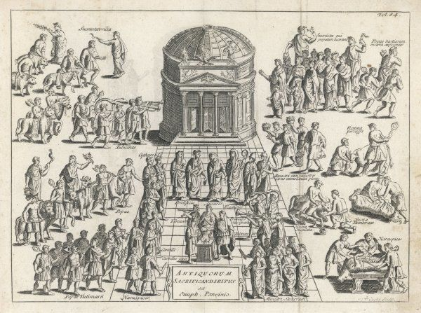 A scene outside a Roman temple on a feast day - priests and musicians, haruspices and augurs. sacrifices galore