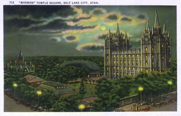 Temple Square in the moonlight - Salt Lake City, Utah, USA with the Tabernacle and Salt Lake Temple visible. Date: circa 1910s