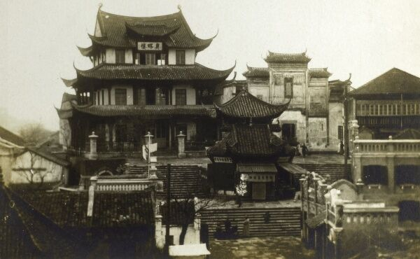 Temples at Hankou (Hankow) - one of the three cities whose merging formed modern-day Wuhan, the capital of the Hubei province, China. Date: 1927