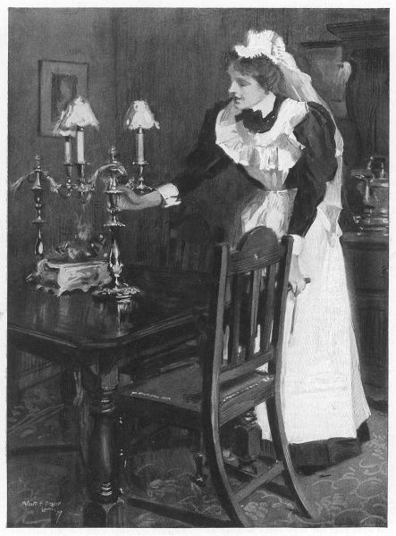 A London housemaid tends the table-lamps
