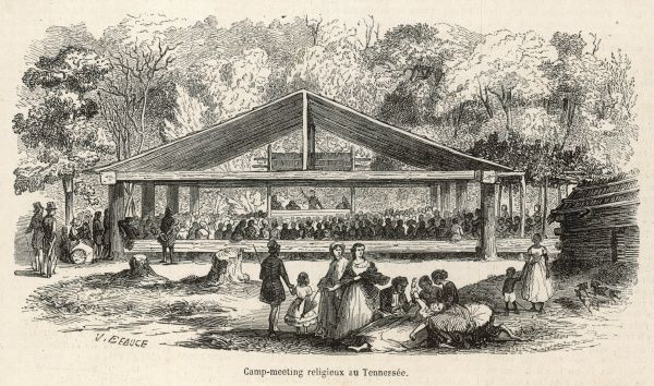 NORTH AMERICA A camp meeting in the Tennessee countryside, attended by country folk in wagons from far and wide