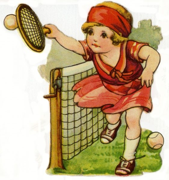 Tennis. Artist: Ada Leonora Bowley. Girl in red volleys over the net Date: circa 1920