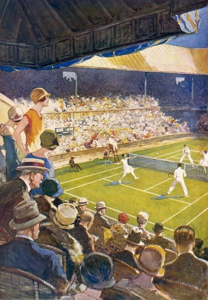 The Tennis fortnight at Wimbledon is for many the most thrilling period of the summer season. All roads to Wimbledon are literally crowded with tennis enthusiasts moving towards the great concrete building which encloses the world-famous centre court