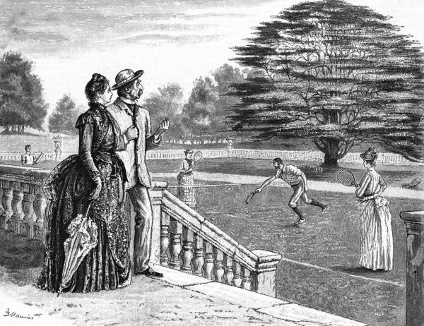 Watching a game from the terrace of an English country house Date: 1888