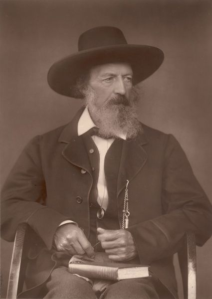 ALFRED, LORD TENNYSON English poet Photograph taken in 1888 of him sitting in a chair