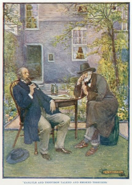 Alfred, Lord Tennyson (1809 - 1892) (left) and Thomas Carlyle (1795 - 1881) talking and smoking together in the garden of Carlyle's house