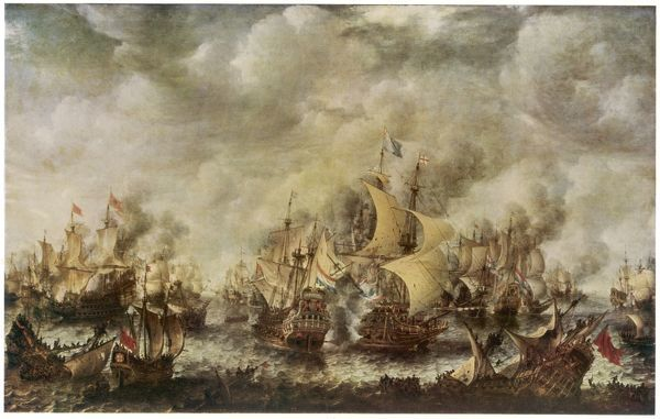 A sea fight between the English and the Dutch off the coast of Ter Heyde