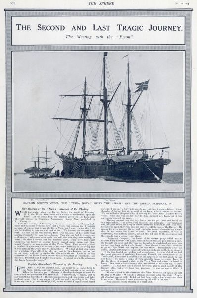 "Captain Scott's vessel, the Terra Nova, meets the Norwegian 'Fram"" off the Barrier in February 1911 when Roald Amundsen met Lieutenant Pennell and Campbell from the British expedition's ship"
