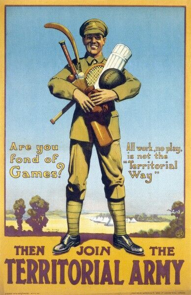 A recruiting poster for the Territorial Army, highlighting that sporting pursuits need not be sacrificed to join - in fact they are actually strongly encouraged!