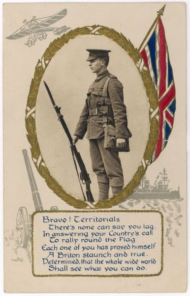 A card celebrating the brave members of the territorial army as they answer the call to war