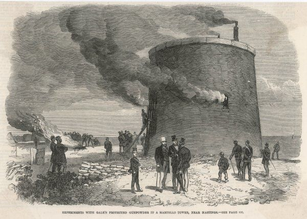 Experiments with Gale's protected gunpowder in a Martello Tower near Hastings