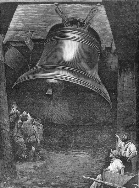 Engraving showing the workers of Messrs. Taylor and Sons' Factory, at Loughborough, testing the Great Bell they had manufactured for St. Paul's Cathedral, London, 1882