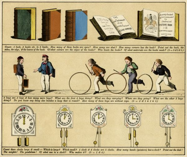 Plate 12 features pictures of books, clocks and boys playing with wooden hoops. Date: 1880