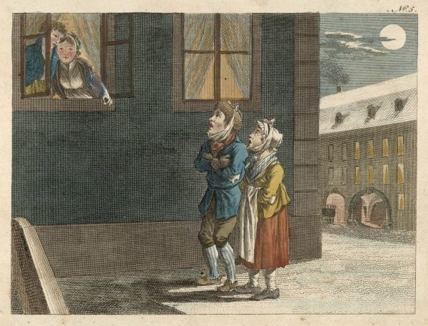 Two poor children in the street sing outside the window of two rich children's house who give them some money Date: Circa 1815