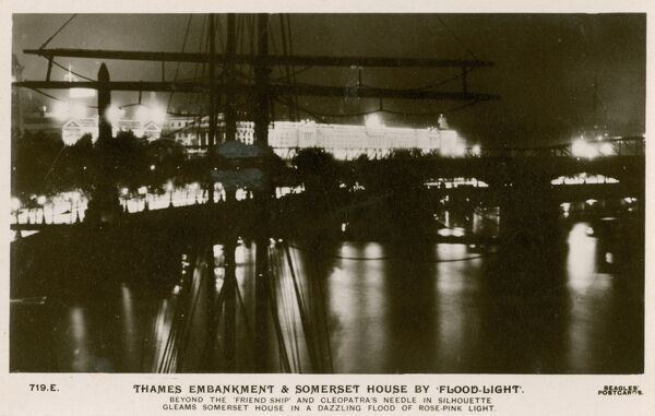 Thames Embankment and Somerset House, London by floodlight