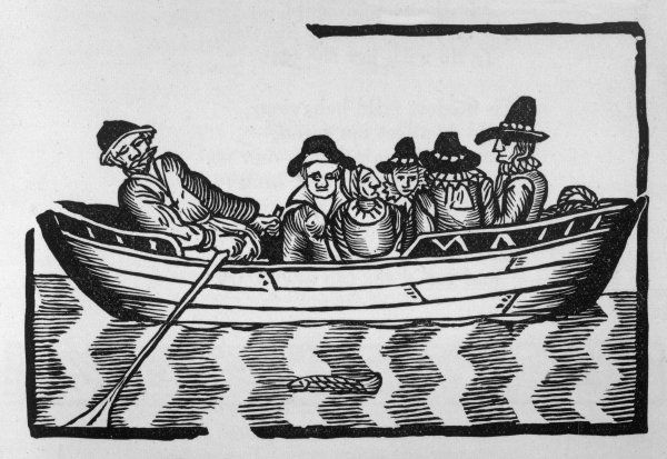 A Thames waterman takes a full load of passengers from one side of the river to the other