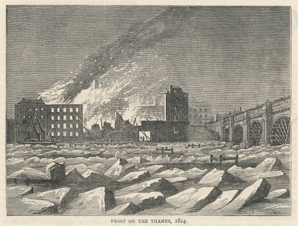 The river choked with ice- blocks near London Bridge : a factory is burning in the background