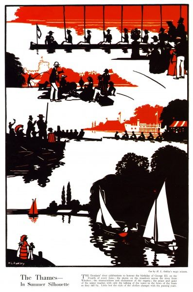 The Thames in summer silhouette cut by H. L. Oakley depicting rowers on the river, sailing boats and people enjoying the spectacle or a picnic on its banks