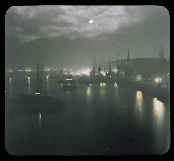 Thames wharves by night