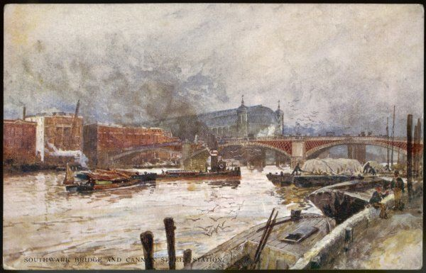 The Thames at Southwark Bridge, with Cannon Street station in the background : a winter scene with snow