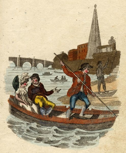 A Thames boatman lands his passengers on the south bank of the Thames, near Waterloo; at this time there are some 20,000 watermen serving those who need to cross the river