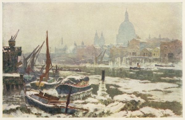 The Thames in winter, with St Paul's Cathedral in the background