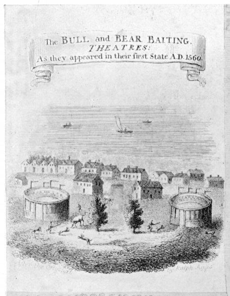 The Bull and Bear baiting arenas as they appeared on Bankside, London