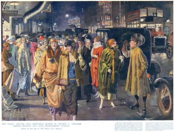 The early winter and Christmas season in London - a theatre crowd pouring out into Shaftesbury Avenue. The scene is outside the Lyric Theatre, looking towards the Globe, the Queen's, and the Shaftesbury. Cars are drawing up to the front of the house