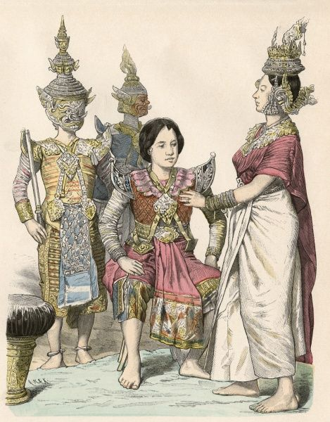 Actors and actresses in the traditional costume of Siam (modern Thailand). Date: circa 1880