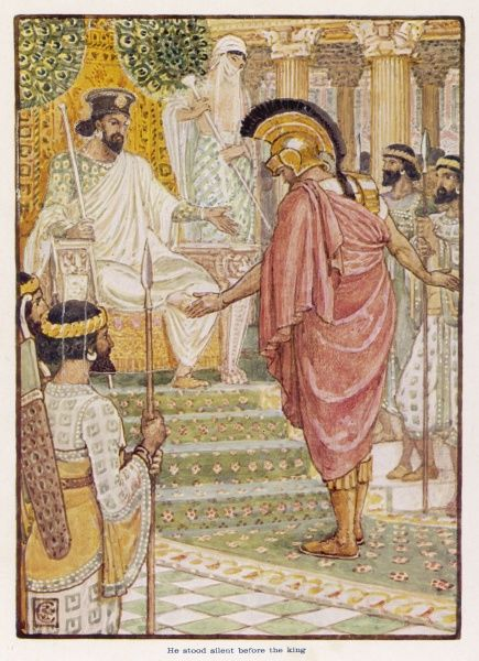 Themistocles, ostracised from Athens for boasting of his achievements, is received by Artaxerxes, King of Persia