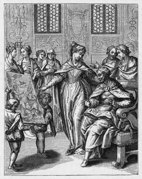 Theodelinda, queen of the Lombards, explains the mystery of the Christian trinity to her husband, Agilulf