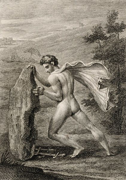He lifts the rock of Aegeus, revealing the sword and sandals whereby he will identify himself as the son of Aegeus, king of Athens
